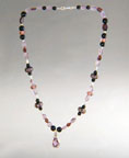 Amethyst, Black Onyx and Lampwork Necklace