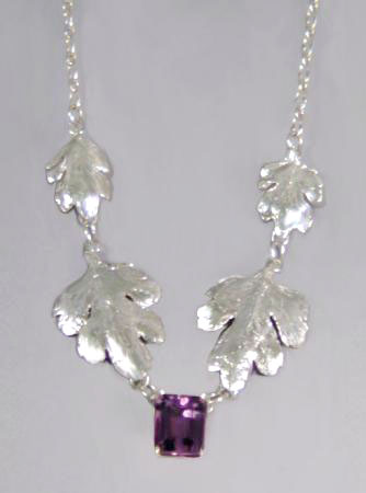 Amethyst and Leaves Necklace