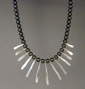 Hematite Necklace w/ Silver Fingers